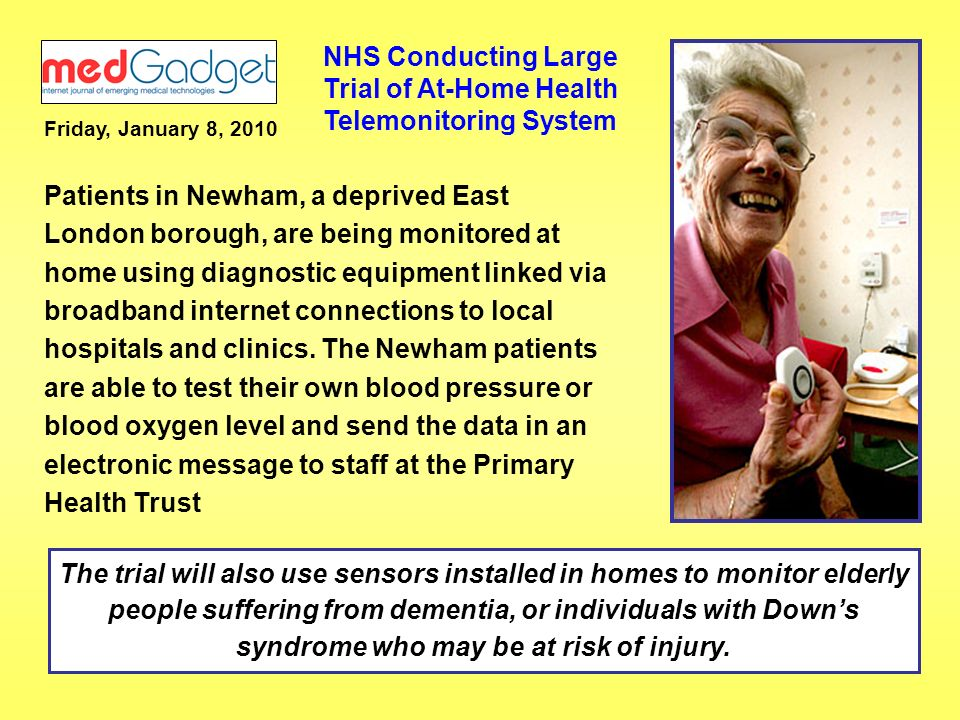 NHS Conducting Large Trial of At-Home Health Telemonitoring System