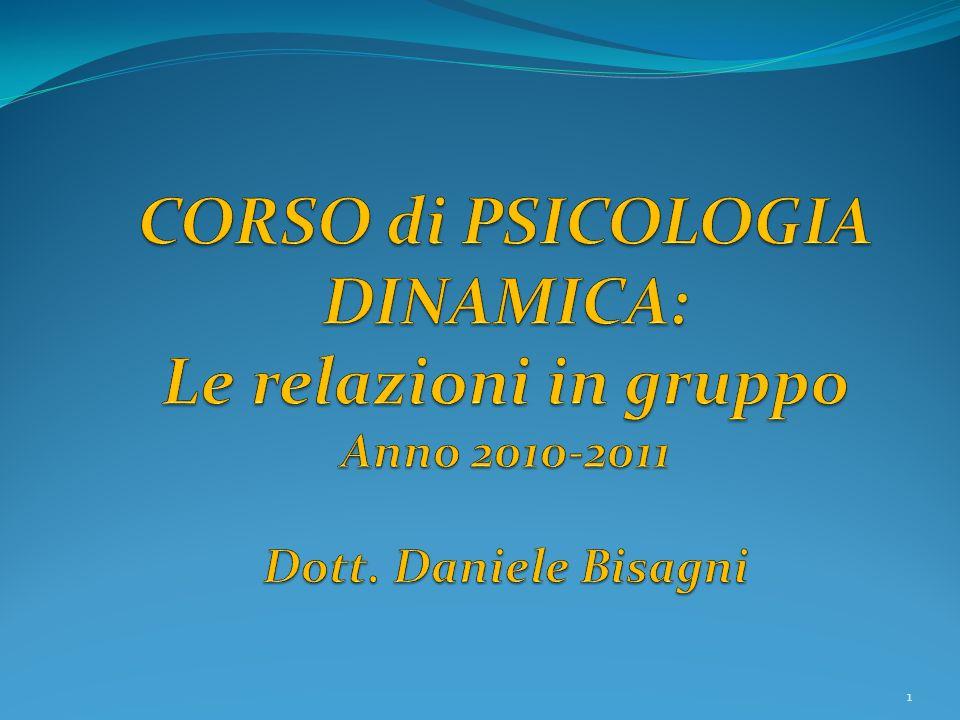 CORSO di PSICOLOGIA DINAMICA: Le relazioni in gruppo Anno 2010-2011 Dott. Daniele Bisagni