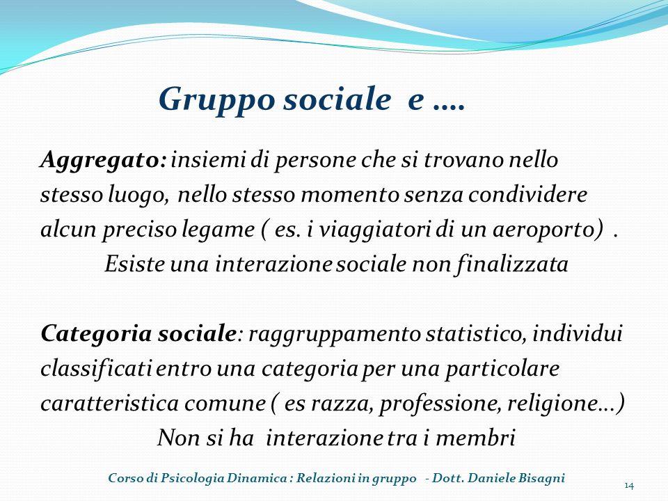 Gruppo sociale e …. Aggregato: insiemi di persone che si trovano nello