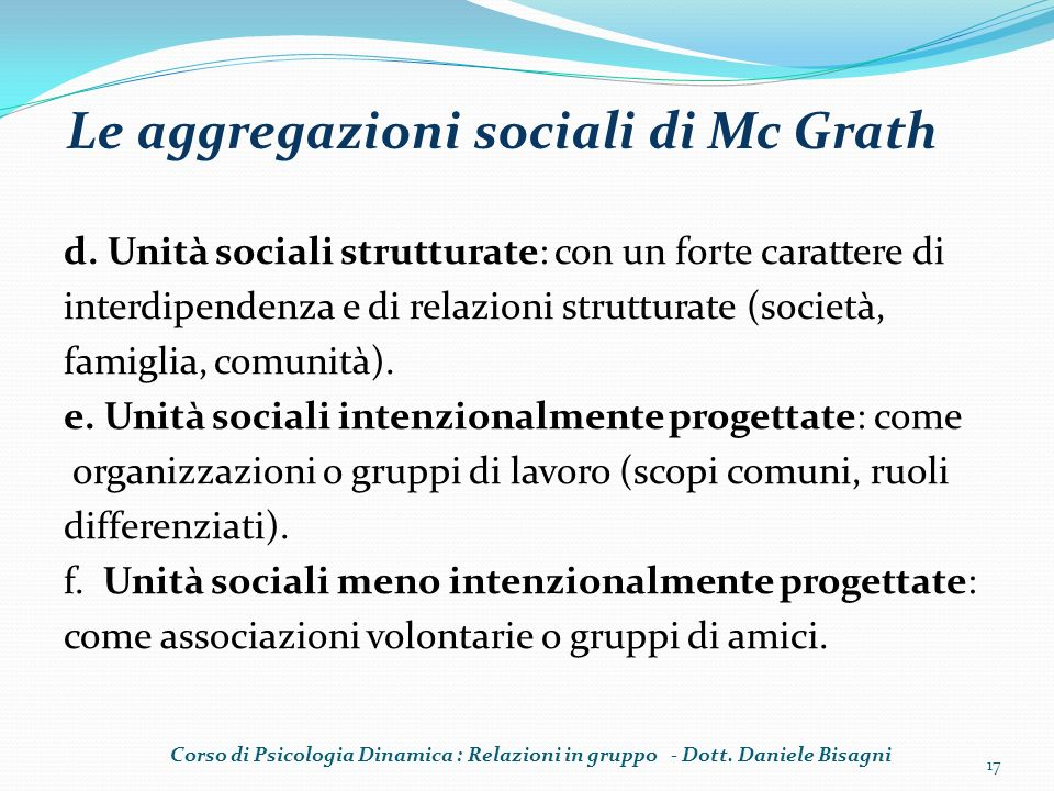 Le aggregazioni sociali di Mc Grath