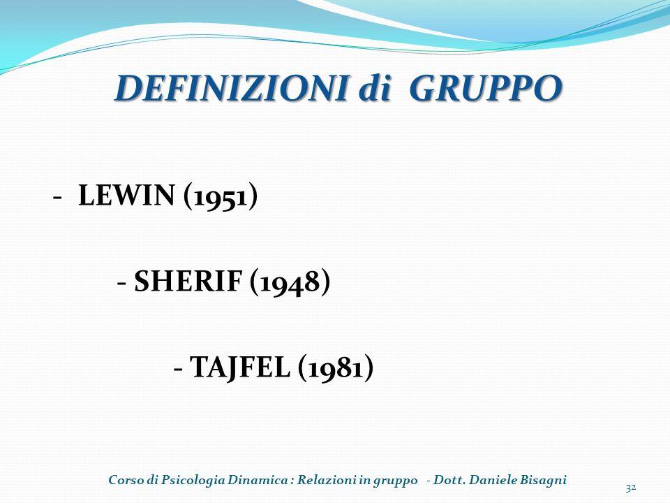 DEFINIZIONI di GRUPPO - LEWIN (1951) - SHERIF (1948) - TAJFEL (1981)