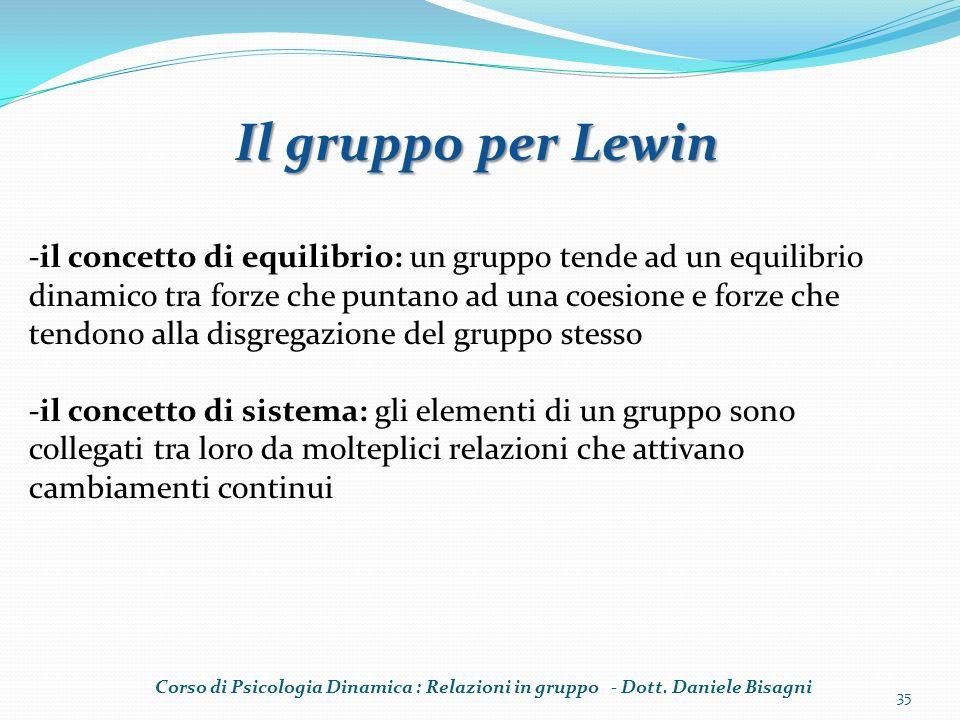 Il gruppo per Lewin -il concetto di equilibrio: un gruppo tende ad un equilibrio. dinamico tra forze che puntano ad una coesione e forze che.