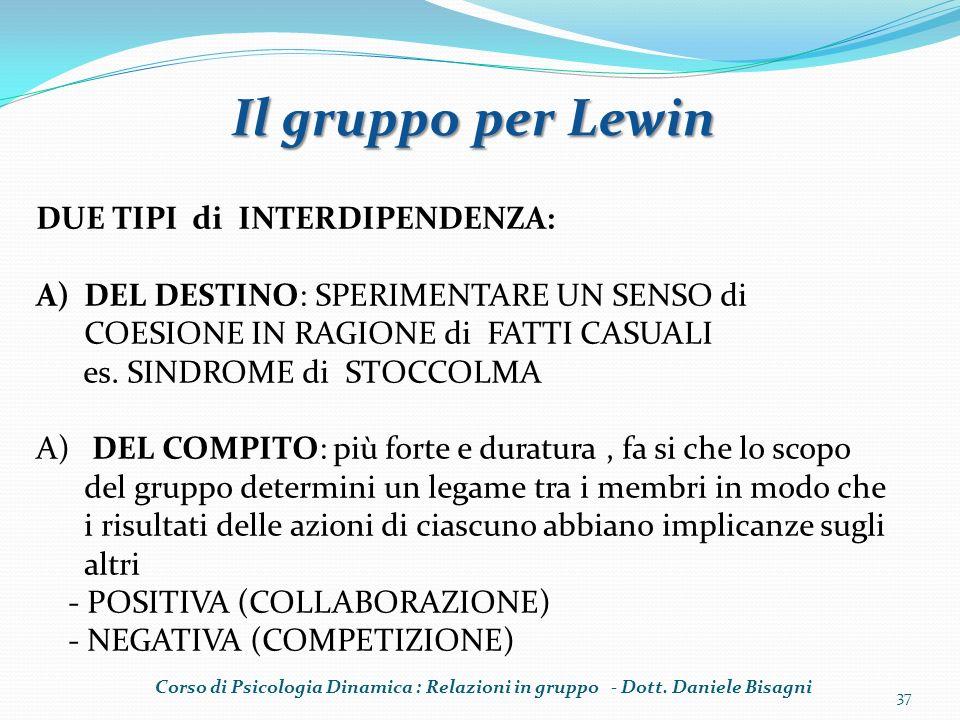 Il gruppo per Lewin DUE TIPI di INTERDIPENDENZA: