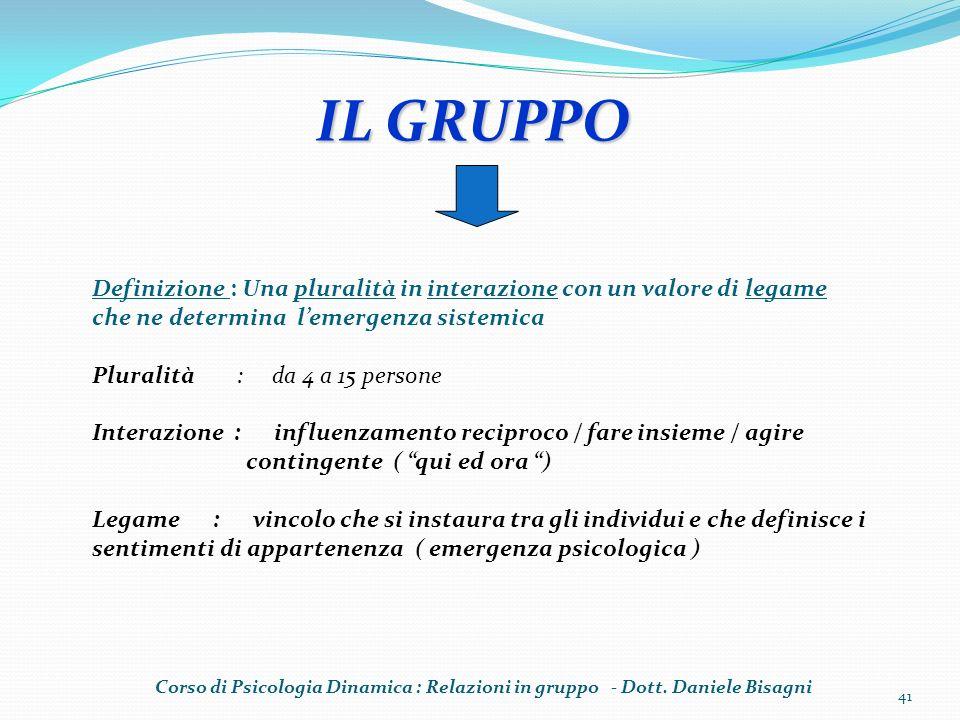 IL GRUPPO Definizione : Una pluralità in interazione con un valore di legame che ne determina l'emergenza sistemica.