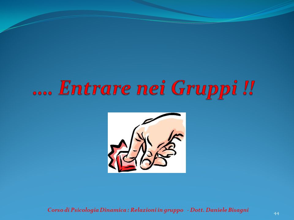 …. Entrare nei Gruppi !. Corso di Psicologia Dinamica : Relazioni in gruppo - Dott.