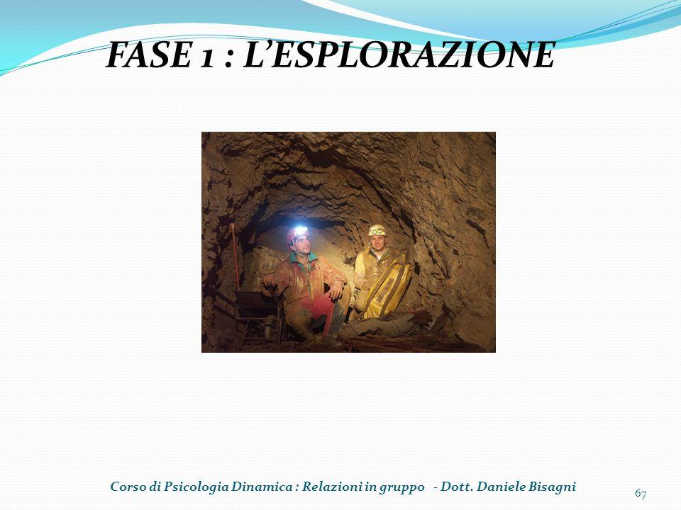FASE 1 : L'ESPLORAZIONE Corso di Psicologia Dinamica : Relazioni in gruppo - Dott.