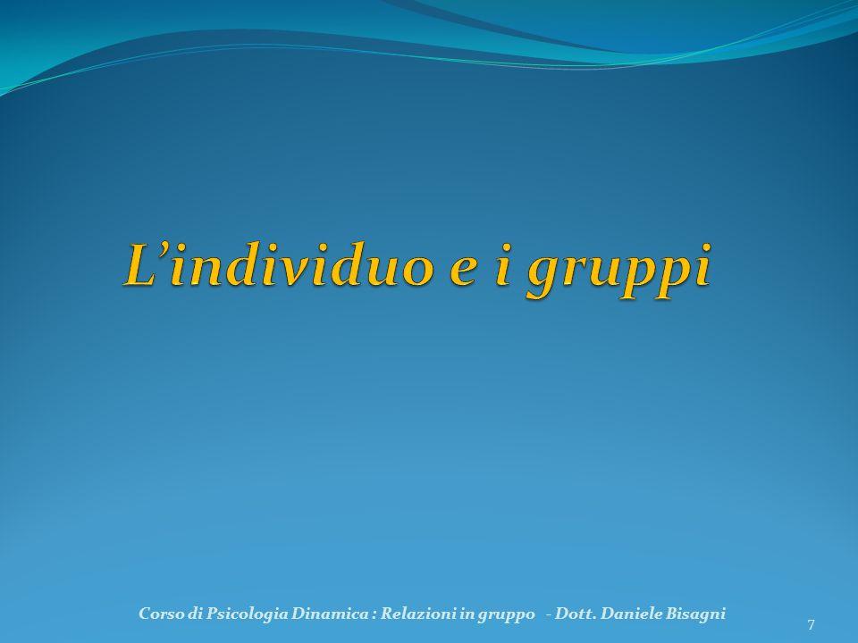 L'individuo e i gruppi Corso di Psicologia Dinamica : Relazioni in gruppo - Dott. Daniele Bisagni