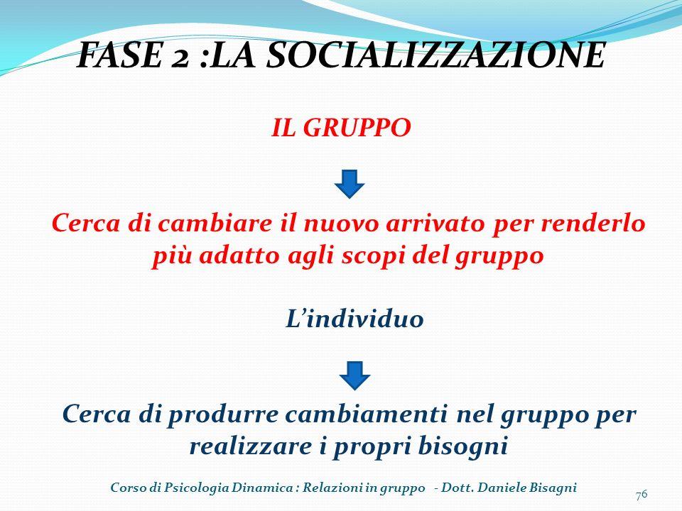 FASE 2 :LA SOCIALIZZAZIONE