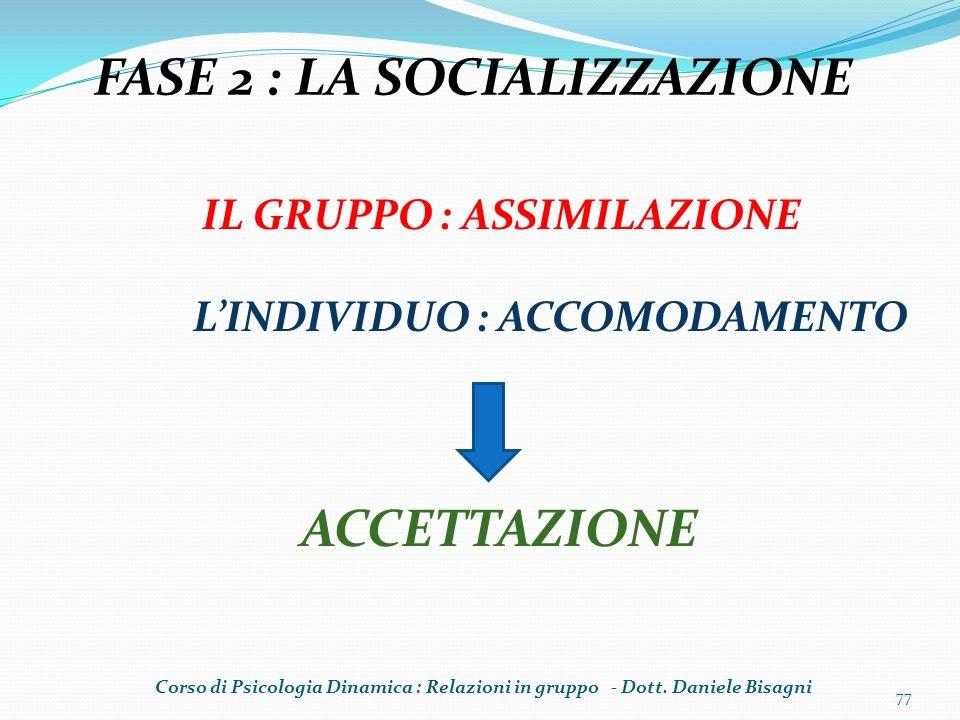 FASE 2 : LA SOCIALIZZAZIONE
