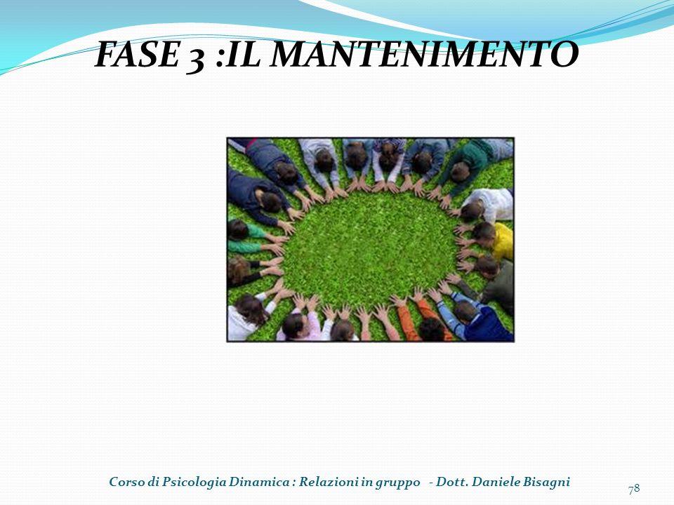 FASE 3 :IL MANTENIMENTO Corso di Psicologia Dinamica : Relazioni in gruppo - Dott.