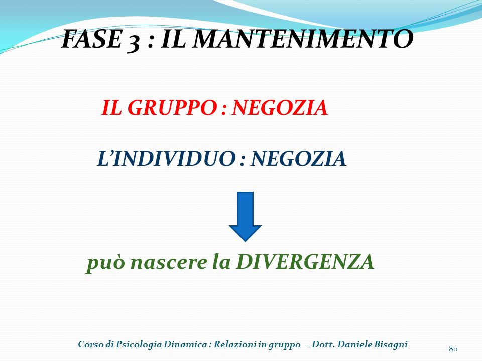 FASE 3 : IL MANTENIMENTO IL GRUPPO : NEGOZIA L'INDIVIDUO : NEGOZIA