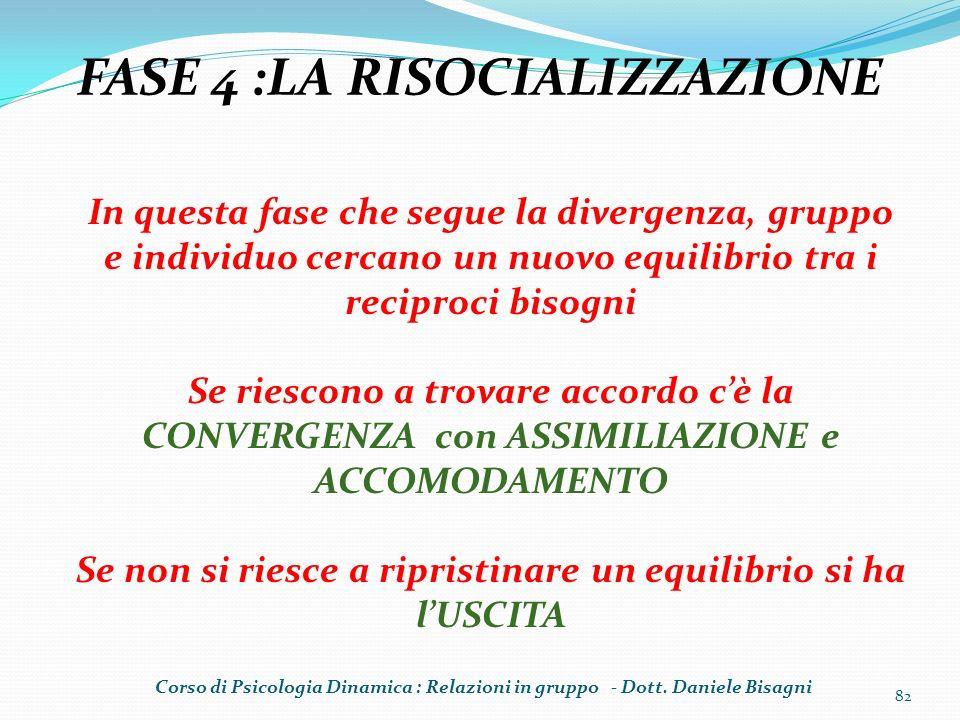 FASE 4 :LA RISOCIALIZZAZIONE