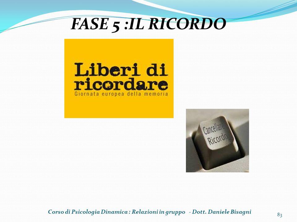 FASE 5 :IL RICORDO Corso di Psicologia Dinamica : Relazioni in gruppo - Dott. Daniele Bisagni