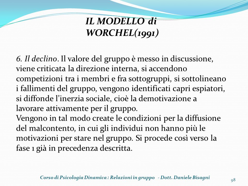 IL MODELLO di WORCHEL(1991)