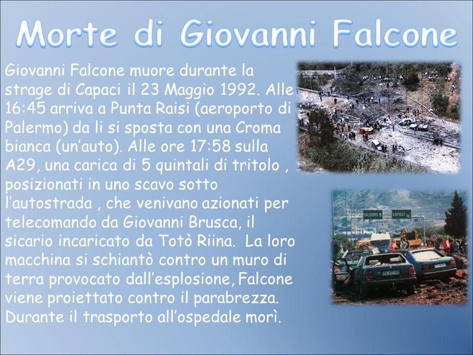 Giovanni Falcone muore durante la strage di Capaci il 23 Maggio 1992