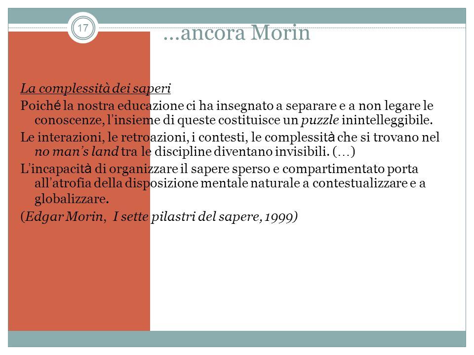 …ancora Morin La complessità dei saperi