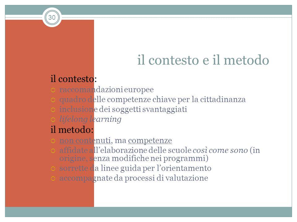 il contesto e il metodo il contesto: il metodo: