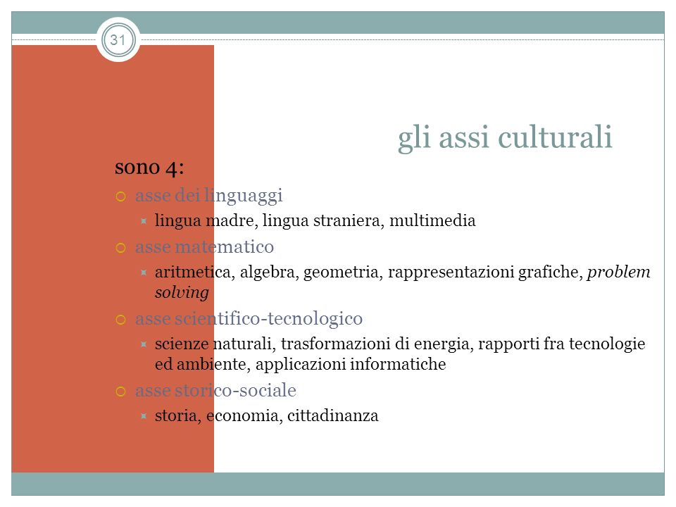 gli assi culturali sono 4: asse dei linguaggi asse matematico
