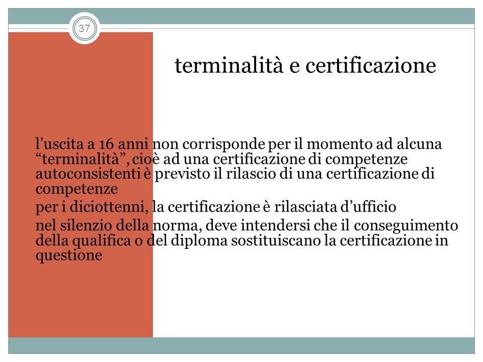 terminalità e certificazione