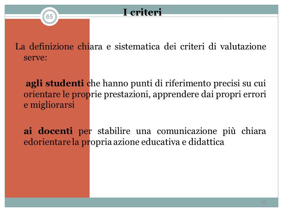 I criteri La definizione chiara e sistematica dei criteri di valutazione serve: