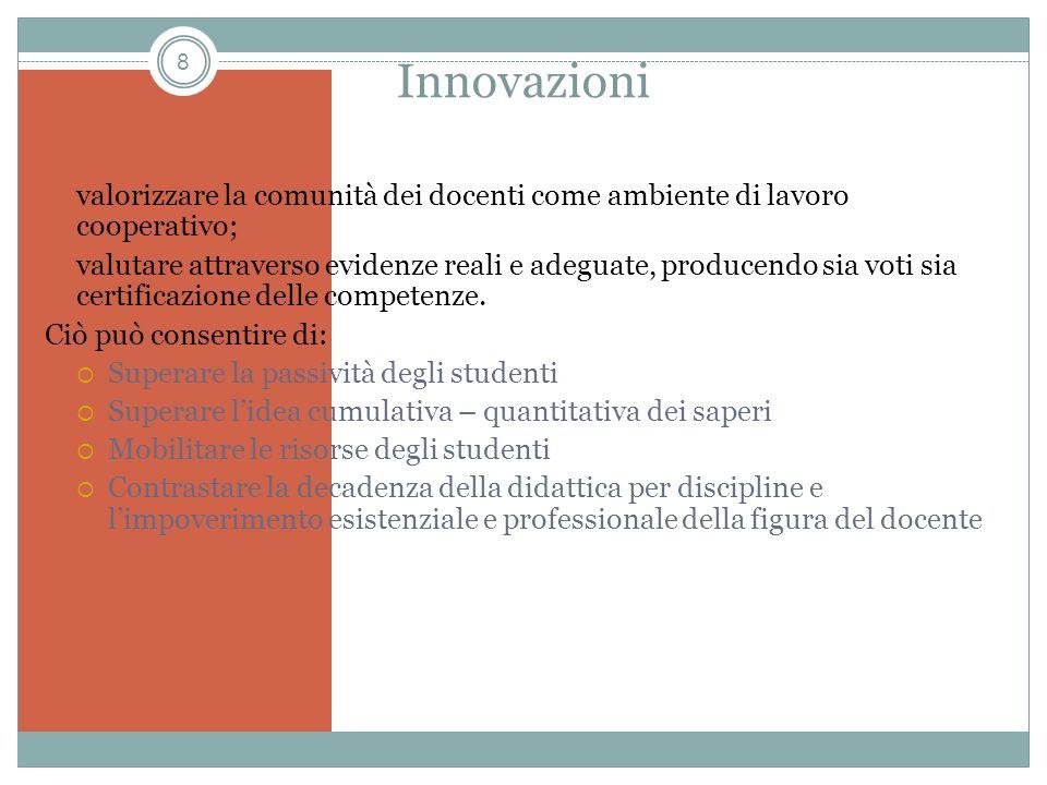 Innovazioni valorizzare la comunità dei docenti come ambiente di lavoro cooperativo;