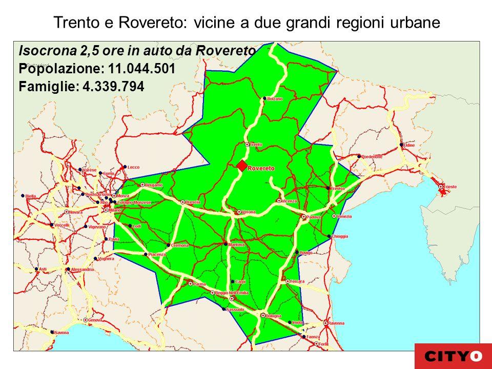 Trento e Rovereto: vicine a due grandi regioni urbane