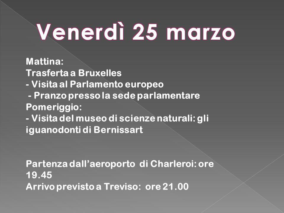 Venerdì 25 marzo Mattina: Trasferta a Bruxelles