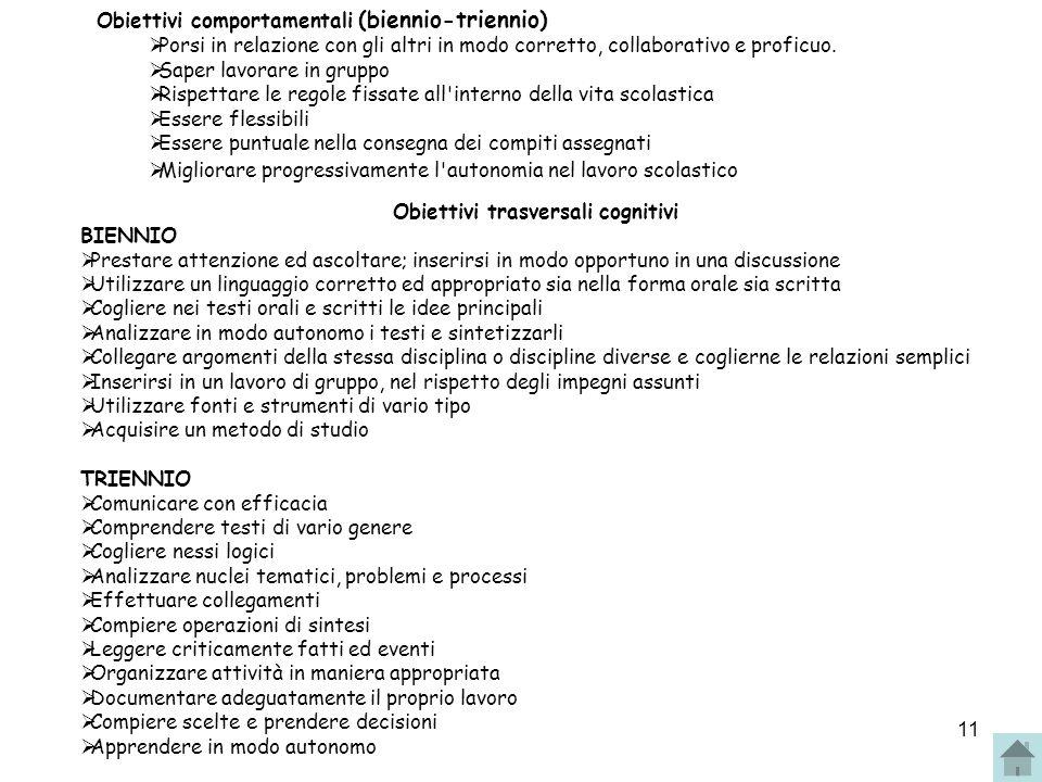 Obiettivi comportamentali (biennio-triennio)