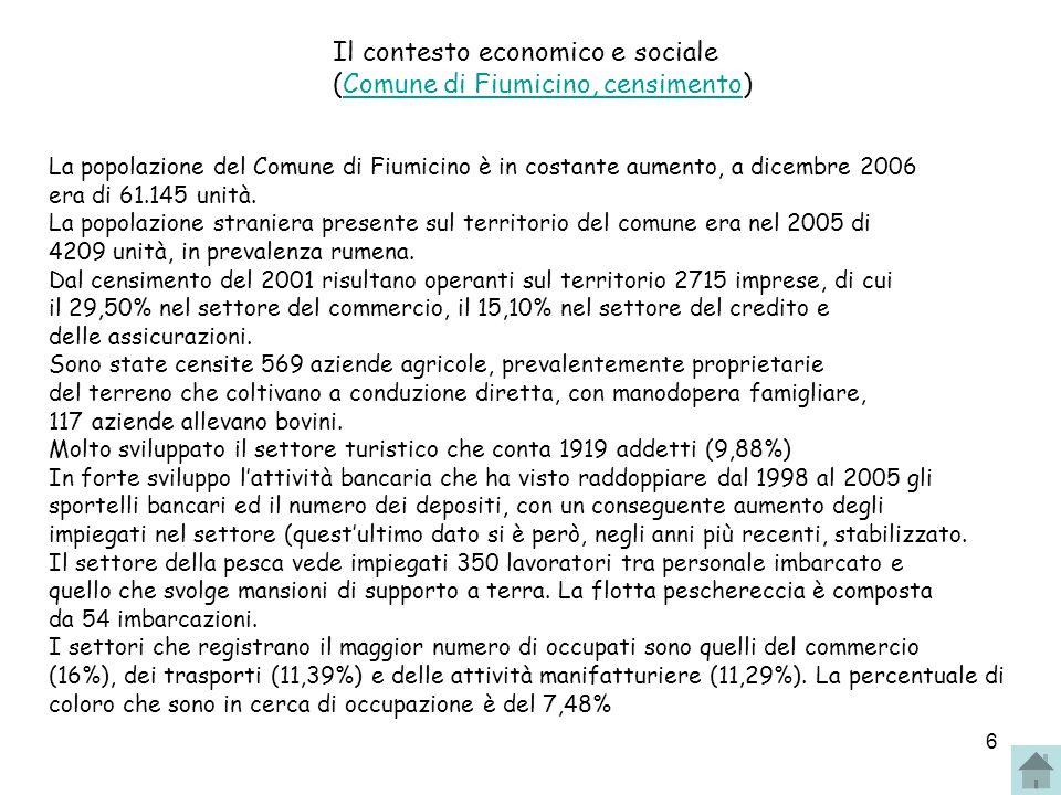 Il contesto economico e sociale (Comune di Fiumicino, censimento)