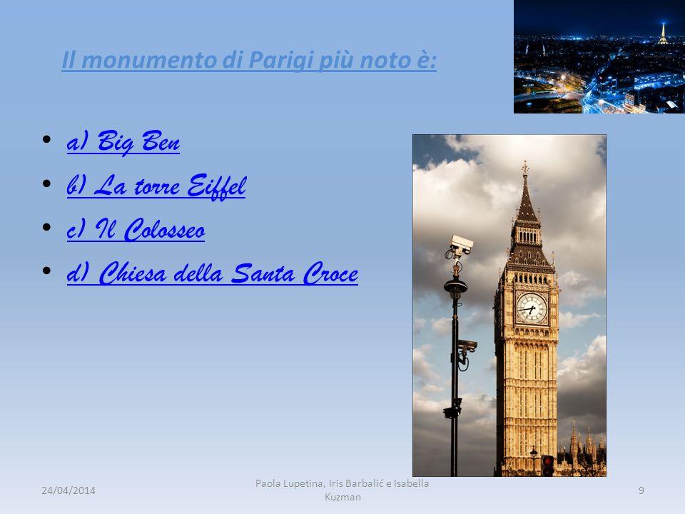 Il monumento di Parigi più noto è: