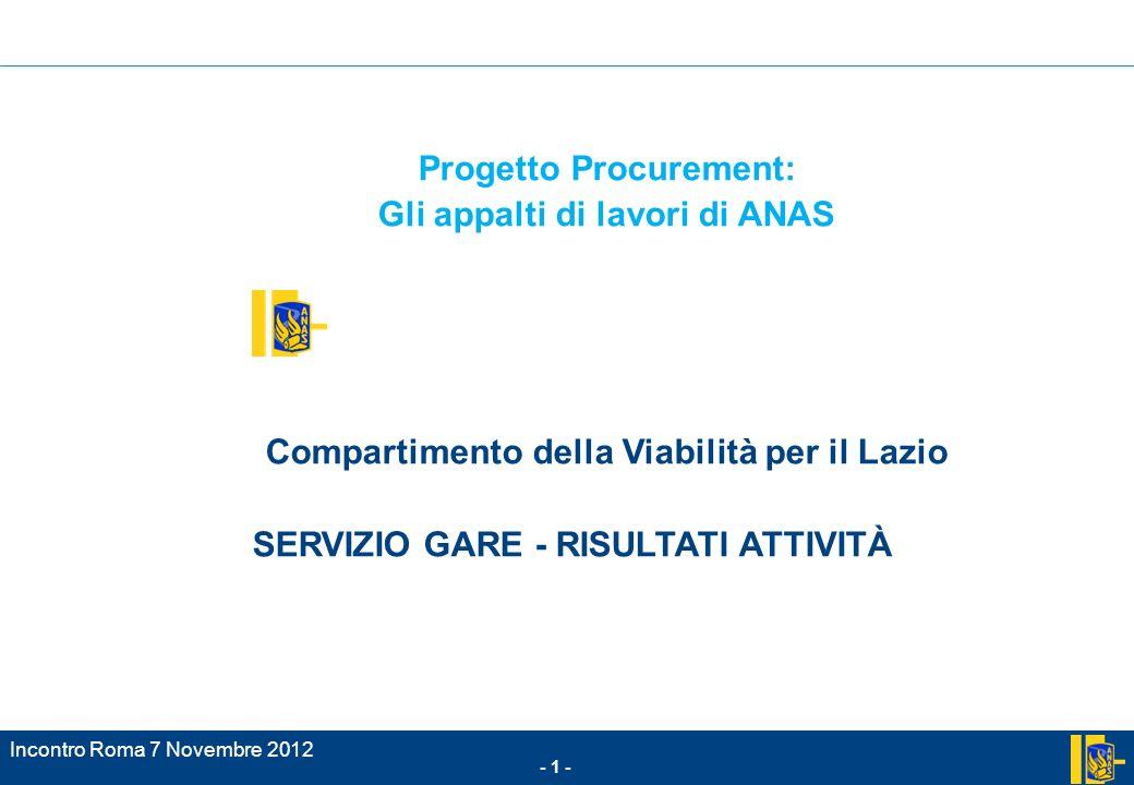 Progetto Procurement: Gli appalti di lavori di ANAS