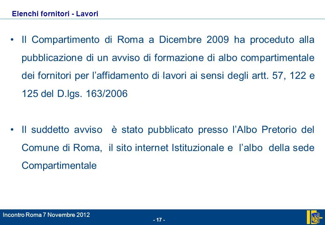 Il Compartimento di Roma a Dicembre 2009 ha proceduto alla pubblicazione di un avviso di formazione di albo compartimentale dei fornitori per l'affidamento di lavori ai sensi degli artt. 57, 122 e 125 del D.lgs. 163/2006