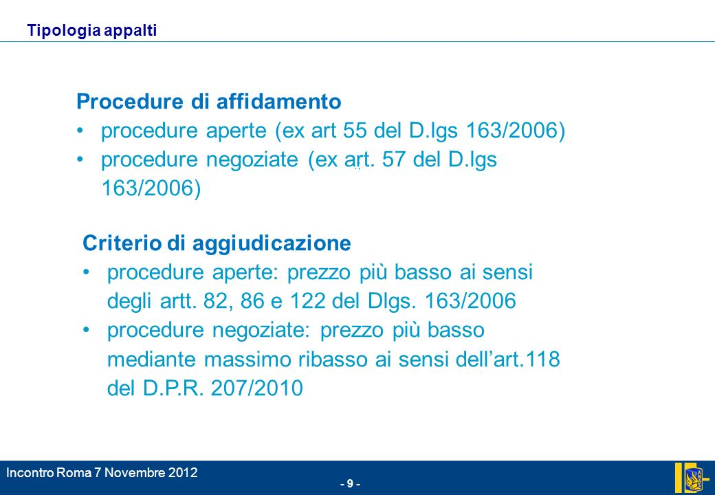 Procedure di affidamento