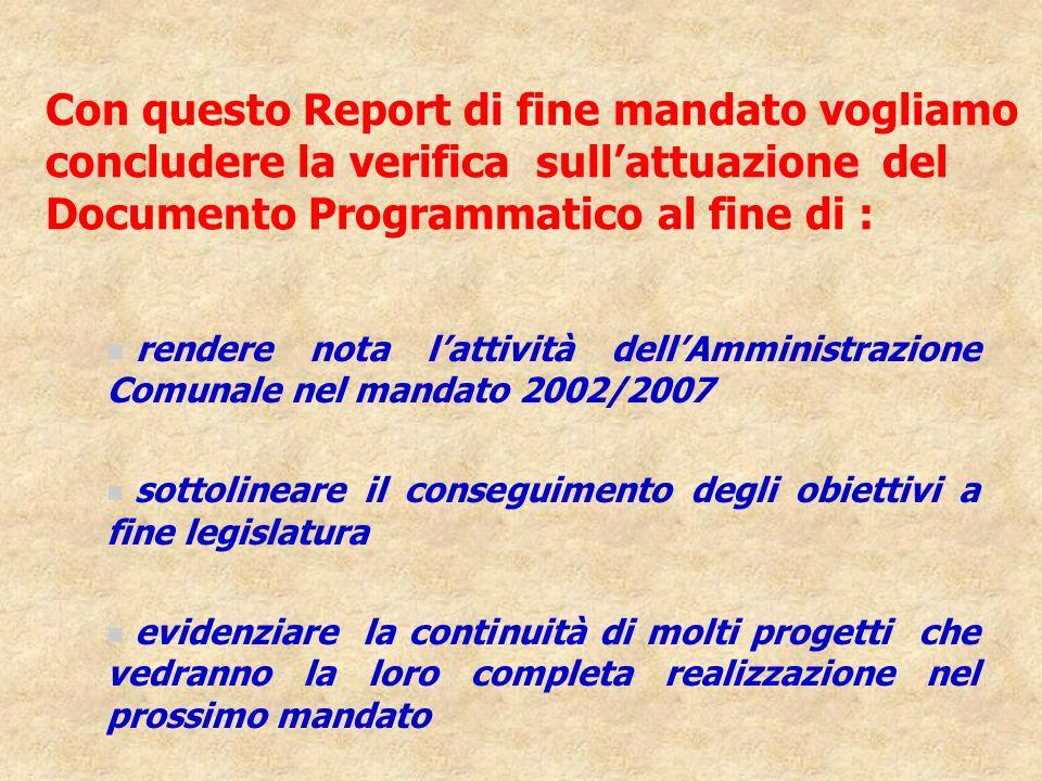 Con questo Report di fine mandato vogliamo concludere la verifica sull'attuazione del Documento Programmatico al fine di :