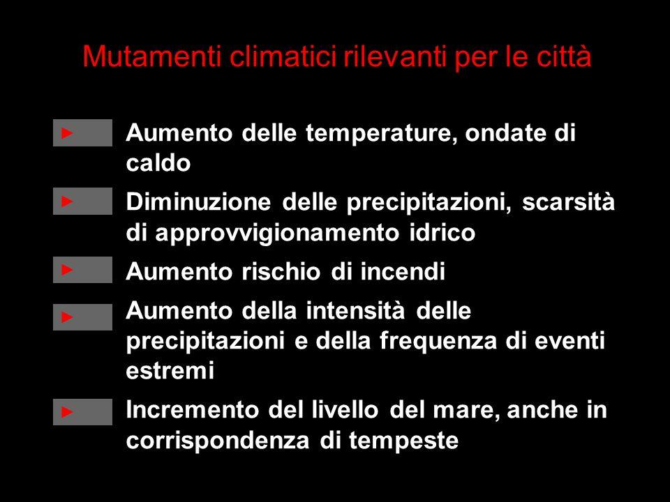 Mutamenti climatici rilevanti per le città