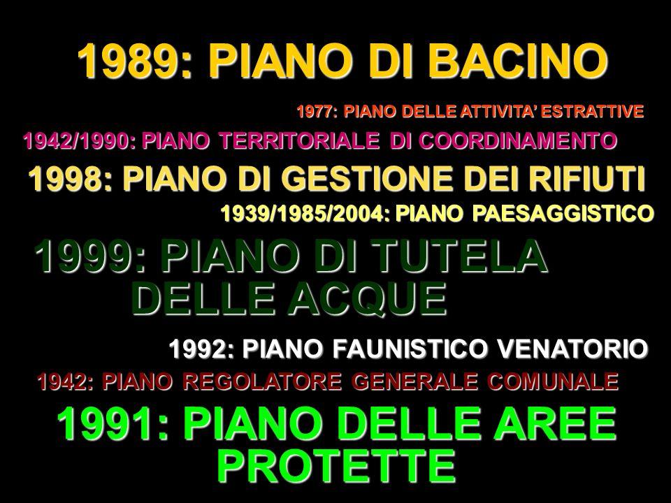 1989: PIANO DI BACINO 1999: PIANO DI TUTELA DELLE ACQUE