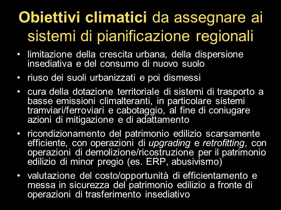 Obiettivi climatici da assegnare ai sistemi di pianificazione regionali