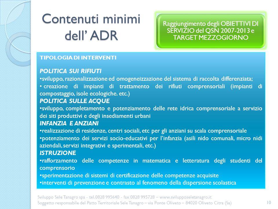 Contenuti minimi dell' ADR