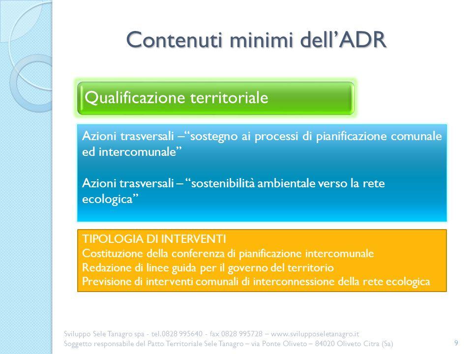 Contenuti minimi dell'ADR