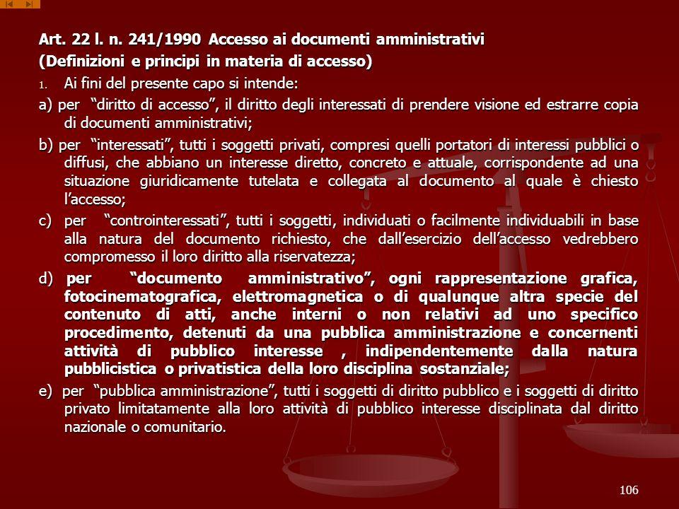 Art. 22 l. n. 241/1990 Accesso ai documenti amministrativi