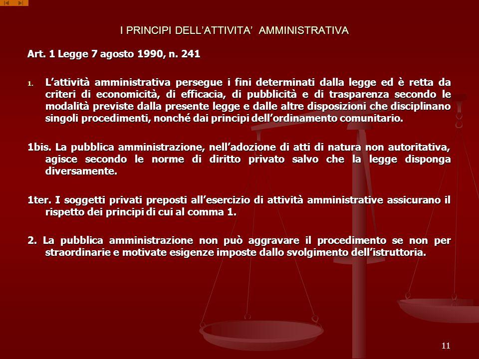 I PRINCIPI DELL'ATTIVITA' AMMINISTRATIVA