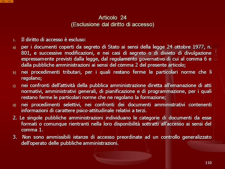 Articolo 24 (Esclusione dal diritto di accesso)