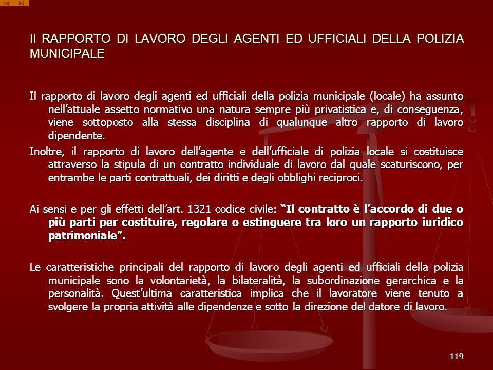 Il RAPPORTO DI LAVORO DEGLI AGENTI ED UFFICIALI DELLA POLIZIA MUNICIPALE