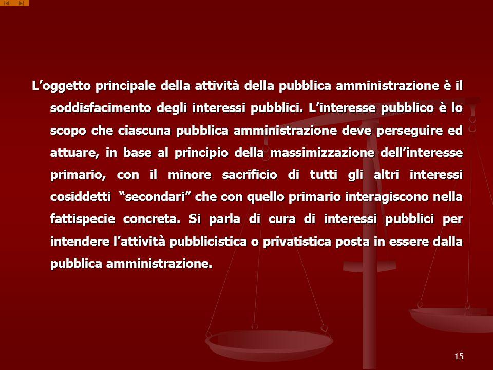 L'oggetto principale della attività della pubblica amministrazione è il soddisfacimento degli interessi pubblici.