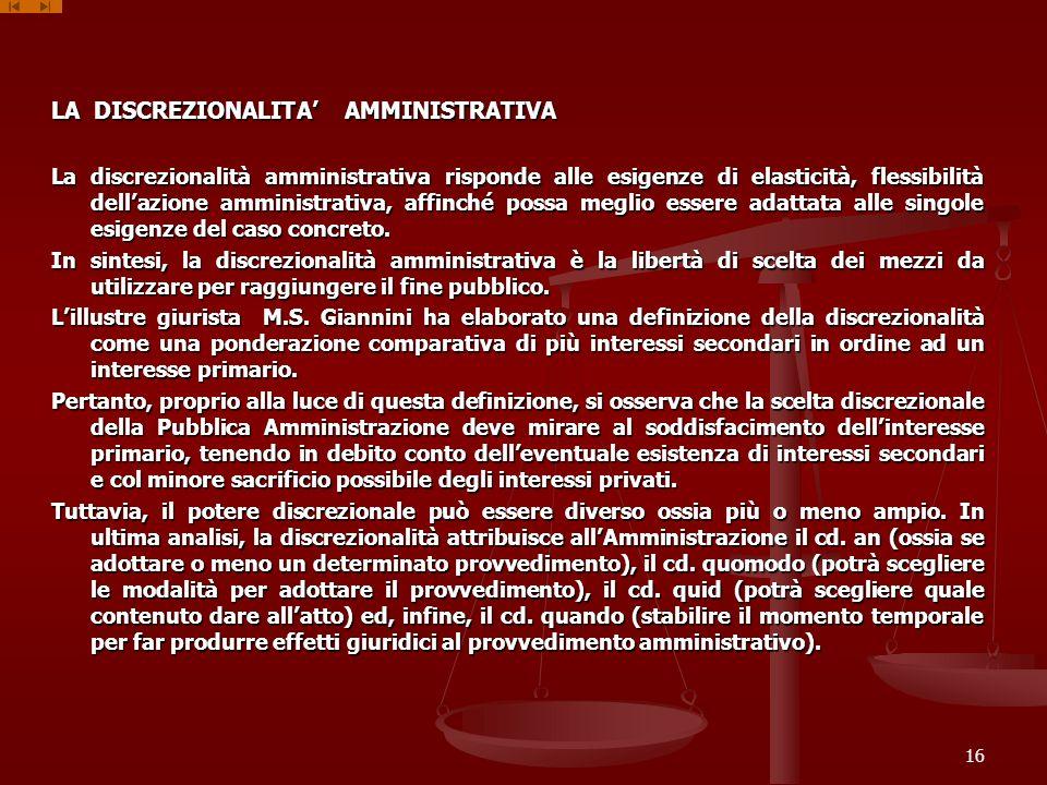 LA DISCREZIONALITA' AMMINISTRATIVA