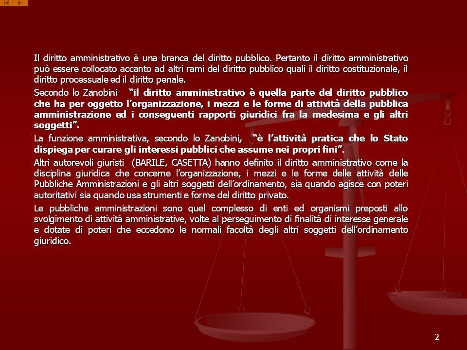 Il diritto amministrativo è una branca del diritto pubblico