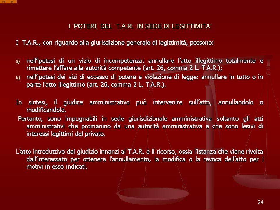 I POTERI DEL T.A.R. IN SEDE DI LEGITTIMITA'