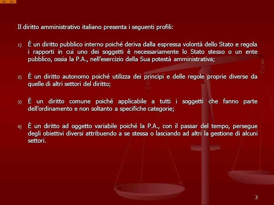 Il diritto amministrativo italiano presenta i seguenti profili: