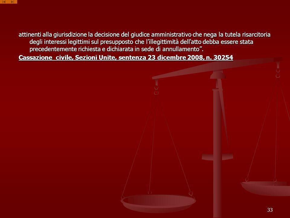 attinenti alla giurisdizione la decisione del giudice amministrativo che nega la tutela risarcitoria degli interessi legittimi sul presupposto che l'illegittimità dell'atto debba essere stata precedentemente richiesta e dichiarata in sede di annullamento .
