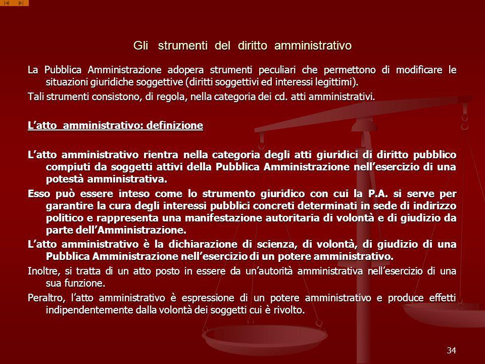 Gli strumenti del diritto amministrativo